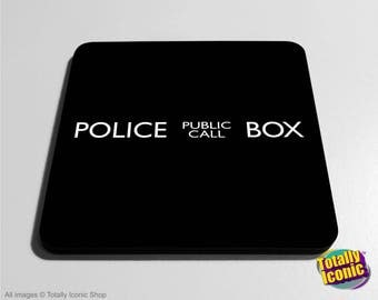 Doctor Who Police Public Call Box - Drinks Coaster Mats - Police Call Box - Tardis  - Time Machine - Time Travel - Police Call Box