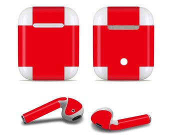 Apple custom made Red Airpod Skins Decals for Apple Airpods Protective Wraps