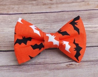 Bats Dog Bow Tie / Halloween Cat Bow Tie / Halloween Pet Bow Tie / Collar Attachment / Removable Dog Bow Tie / Collar Bow Tie