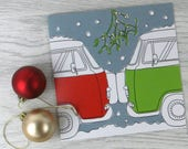 Campervan card 'Christmas kiss'