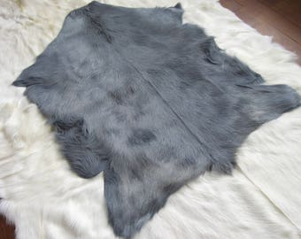 New full size goat hided dyed in steel grey color . FREE SHIPPING in USA and Canada