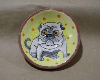 Ceramic Dish, Pug, Pug Breed, pug picture, plate with a dog, dog, picture with dog. drawing a dog, handmade plate