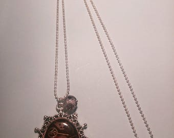 Burgundy and silver steampunk style necklace