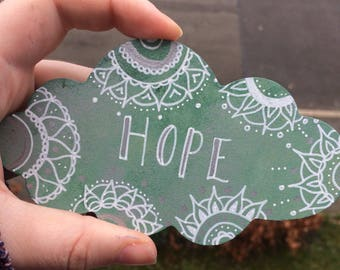 Hand painted cloud fridge magnet | recovery mental health self care hope