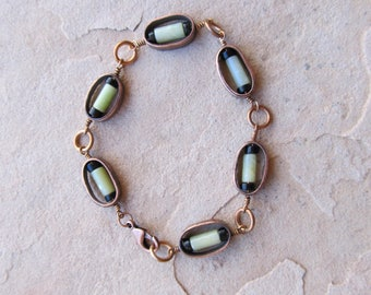 Copper Bracelet with Serpentine and Glass Beads