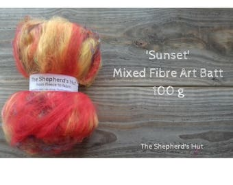 Mixed Wool Art Batt 'Sunset' 100 g  3.5 oz