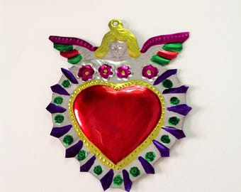 Tin Heart Plaque Handmade Mexican Tin Wall Ornament Mexican Folk Art Recycled Art Hammered Milagro