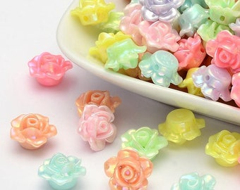 25 pc Mixed AB Flower Acrylic Beads approx 13x8mm