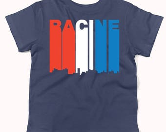 Retro Style Red White And Blue Racine Wisconsin Skyline Infant / Toddler T-Shirt