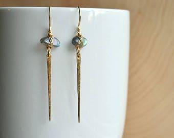 14K Labradorite Spear Earrings