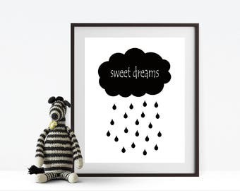 Sweet Dreams Print, nursery print, kids room print, monochrome print, nursery wall decor, wall print, home print, nursery decor, poster