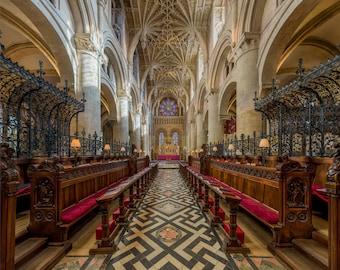 Christ Church Cathedral Interior, Oxford UK, Custom Printed Photograph