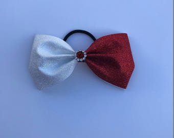 Red and White Glitter Tailless Cheer Bow