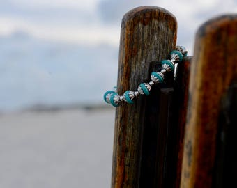 Turquoise & Silver Adjustable Bracelet - Reconstituted Howlite