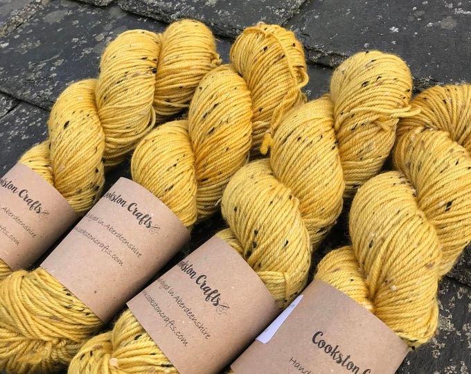 "100g donegal tweed merino DK, hand dyed in Scotland, yellow ""gorse"""