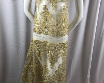 Lace Fabric Beaded Trim Sewing Gold Trimming Edge Embroidered Wedding Craft Bridal Veil By The Yard