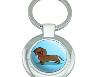 Dachshund Wiener Dog Cartoon Classy Round Chrome Plated Metal Keychain