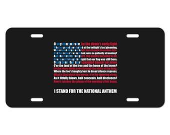 I stand usa national anthem star-spangled banner american flag patriotic novelty metal vanity tag license plate