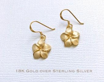 18K Gold over Sterling Silver plumeria stud earrings