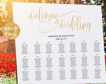 Gold Wedding Seating Chart Printable -  Alphabetical Seating Chart - Welcome To Our Wedding Sign - Gold -  Downloadable wedding #WDH304_18