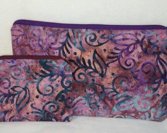 Purple Batik Zipper Cosmetic Storage Pouch set
