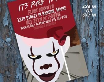 Halloween, Halloween invitation, Pennywise, It, it movie, Halloween birthday, Halloween Party, Halloween invites, printable