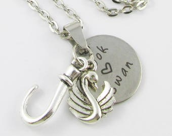 Once Upon a Time Inspired Hook Loves Swan Charm Necklace 45cm Silver Tone Chain