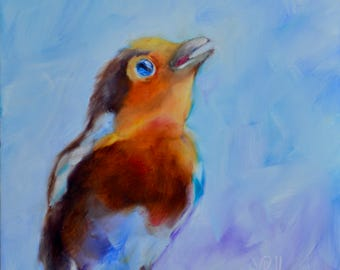 Robin painting//Reaching for High 'C'//Bird Art