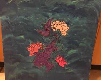 Purple Koi Fish Painting.