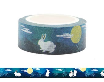 Rabbit and the Moon (Green) Washi Tape  / Traditional Mid Autumn Festival Pattern Masking Tape