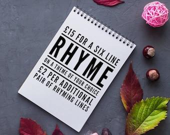 Bespoke Rhyme Writing Service