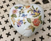 Aynsley Cottage Garden trinket dish ring dish heart shaped flowers bone china