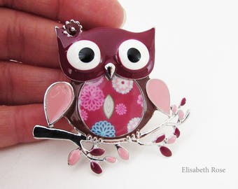 Owl Brooch, Owl Jewellery, Maroon Color Owl Brooch Pin, Owl Sitting on Tree Branch Brooch Pin, Owl Pin, Owl Jewelry, Owl Gift, Small Owl Pin