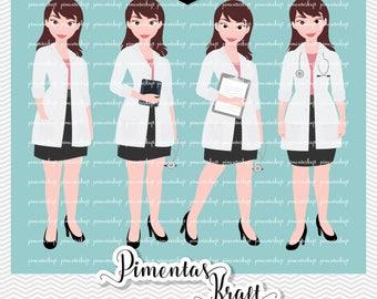 Digital Clipart Doctor Female,doctor,female,doctor,brunette,doctor female clipart,doctor clipart,avatar,profession,occupation,career