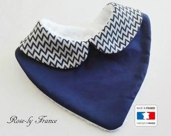 Peter Pan collar baby bandana bib blue chevron Navy 0-18 months