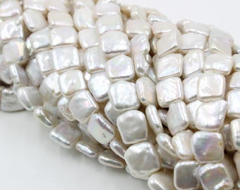 Freshwater Pearls Square pearl Natural White loose pearl 12.5-15.5mm 26Pcs Full Strand