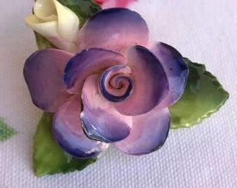 Cara China Staffordshire Purple Floral Pin