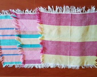 Vintage set of three little square red, pink, green, yellow striped cotton serviettes / table-napkins / doilies, home decoration