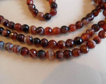6 8mms honey and Brown, Tan faceted agate