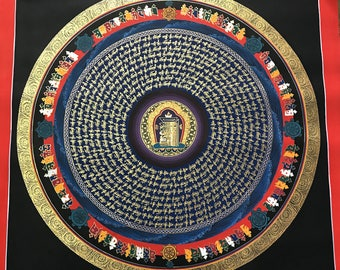Beautiful Handpainted Nepali Kalchakra Mantra Mandala
