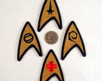 Star Trek uniform left chest insignia patch. Iron-on or sew-able. (I can include or attach a pin on request)