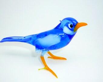 Bluebird Sialia Glass Figurine, Glass Miniature, Collectibles, Glass Sculpture, Glass Figurine, Glass Animal, Art Glass, Gift