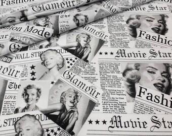 Marilyn Monroe, Hollywood retro,Newspaper Fabric, Cotton Fabric, Fabric by the Yard, Half Yard