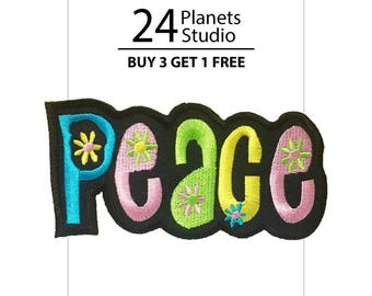 Peace Flower Color Iron on Patch by 24PlanetsStudio