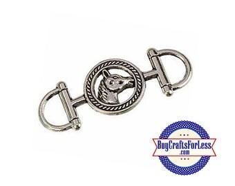 99cent Shipping*~COWBOY HORSE Connector Charm, 2 pcs +49cents ea addt'l item & Discounts