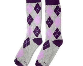 Groomsmen Socks | Purple & Grey Argyle Socks | Wedding Day Socks | Groomsmen Gifts | Groomsmen Proposal Idea | Men's Socks | Colorful Socks