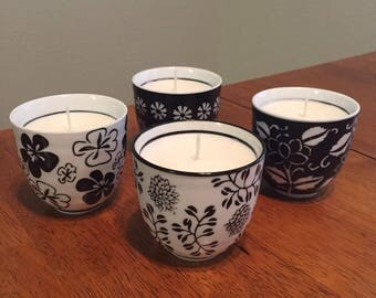 Rain scented black and white mug candles - set of 4