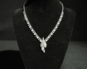 Vintage Rhinestone Necklace/ Rhinestone Choker/ Vintage Jewelry/ Vintage Necklace/ Costume Jewelry/ 50s Jewelry/ Bridal Jewelry