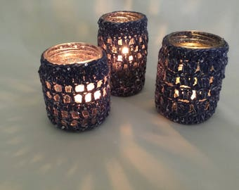 Upcycled set of 3 candle holders