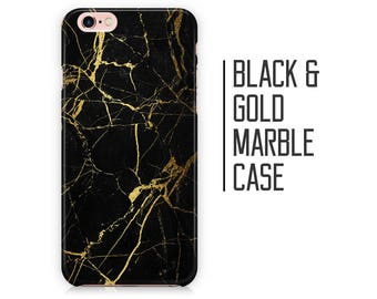 Black Gold Marble Phone Case for iPhone X 8 Plus 7 6 6s 5 5s 5c SE + Samsung S6 S7 S8+ Black and Gold